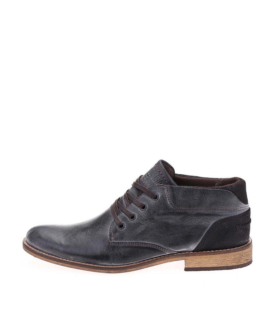Tmavě šedé pánské kožené nižší kotníkové boty Bullboxer