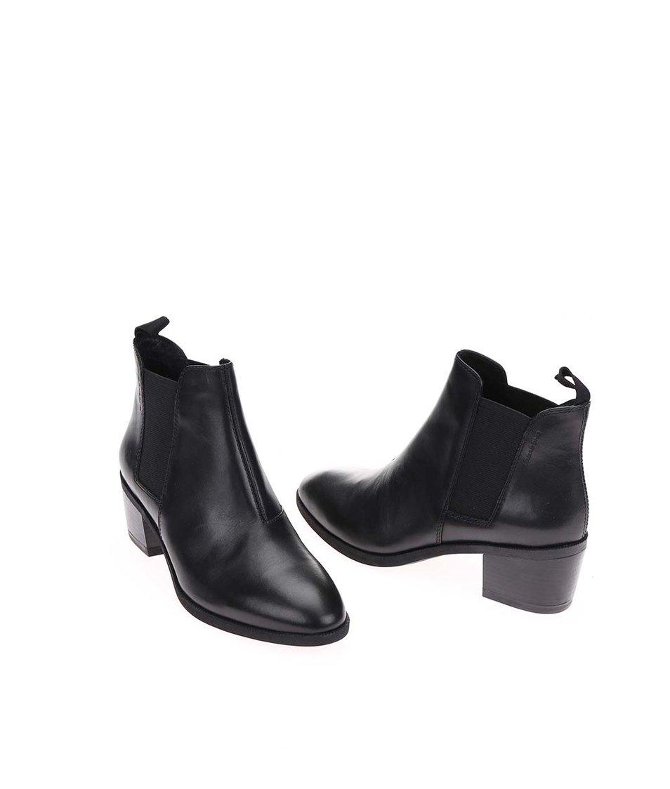 Černé dámské kožené chelsea boty na podpatku Vagabond Yarin