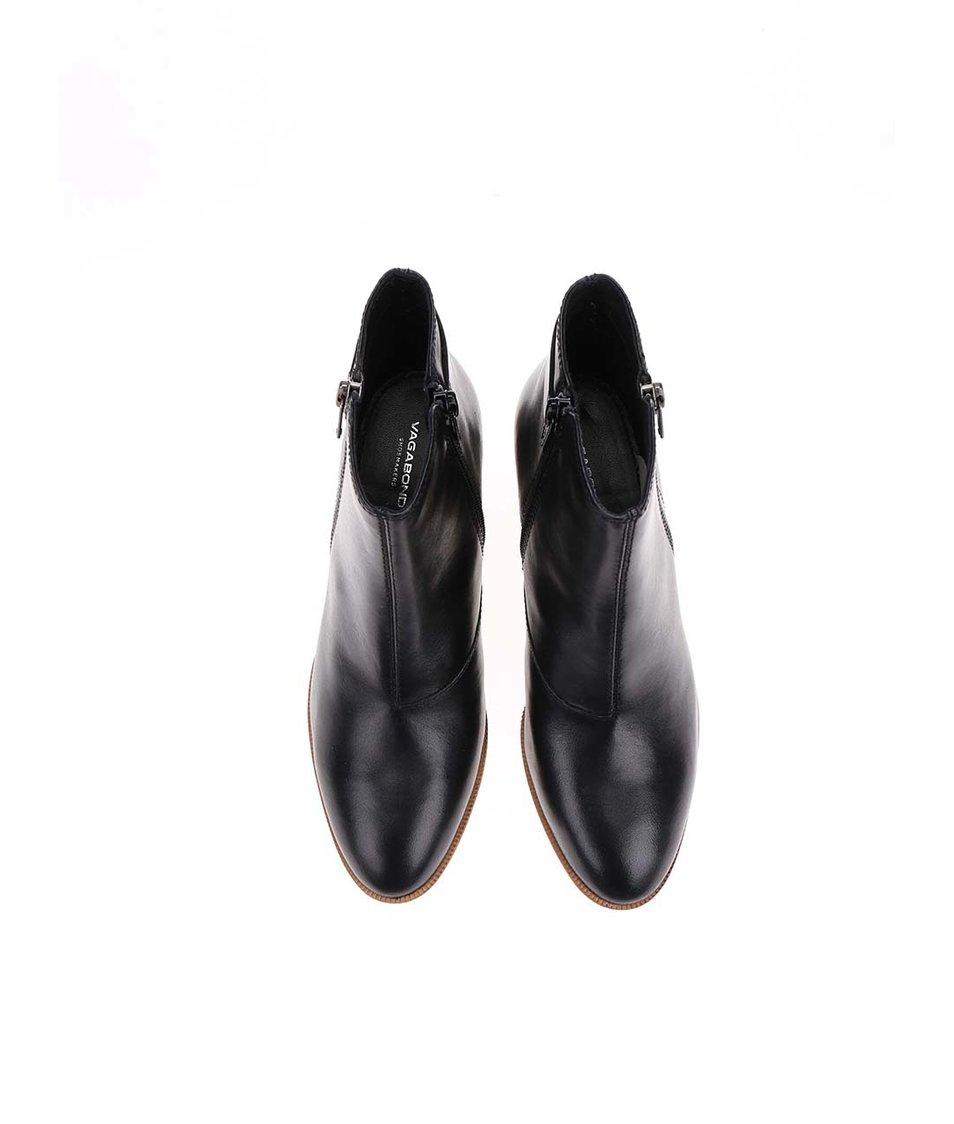 Černé dámské kožené boty na hnědém podpatku Vagabond Yarin