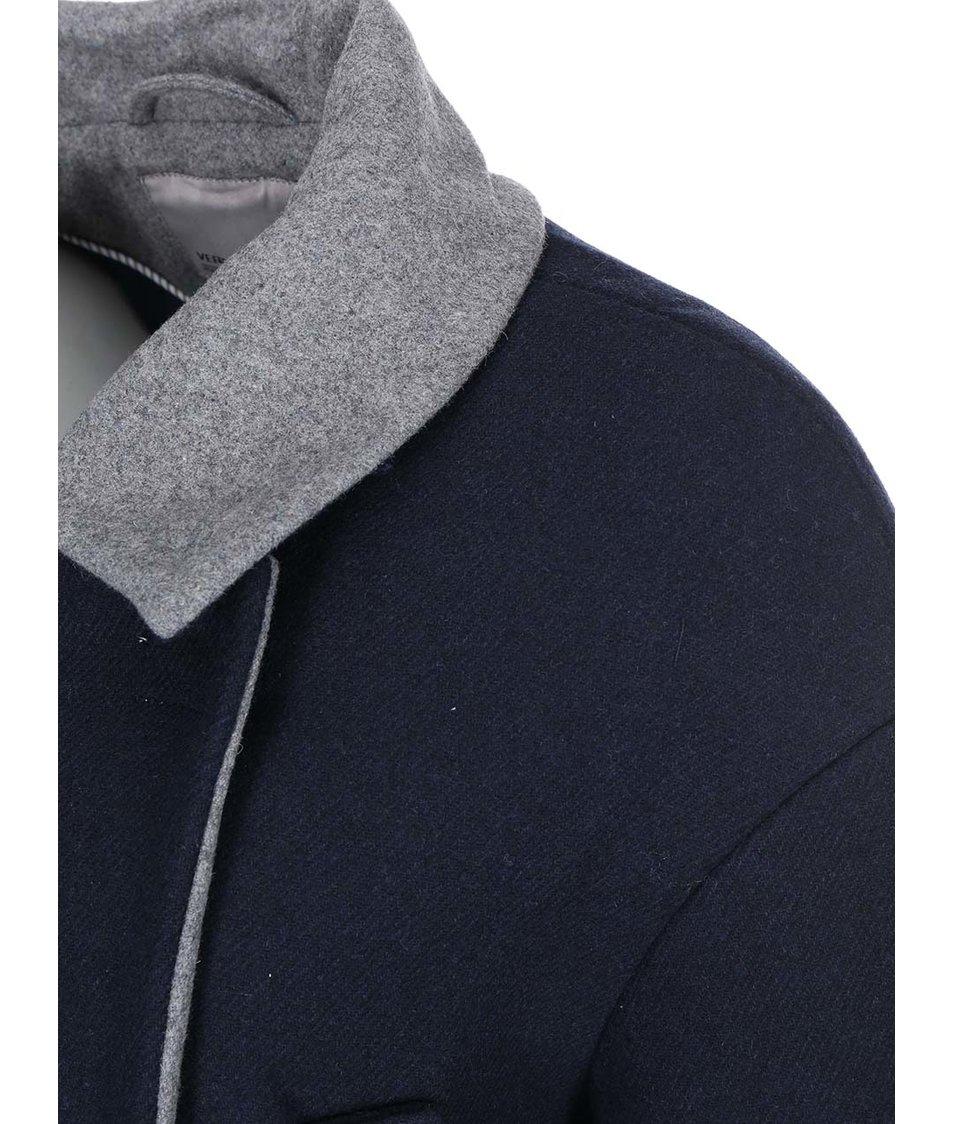 Modrý kabát s šedým límečkem Vero Moda Malene