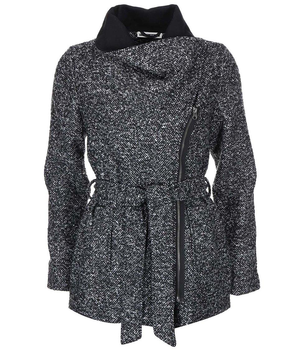 Šedo-černý žíhaný kratší kabát s límcem Noisy May Chrissy