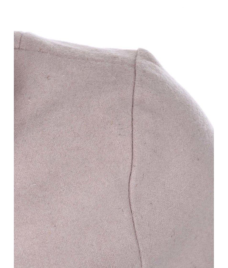 Světle růžový vlněný kabát na zip Lavand
