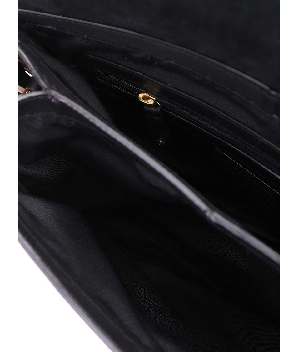 Černá kožená hladká kabelka Vagabond