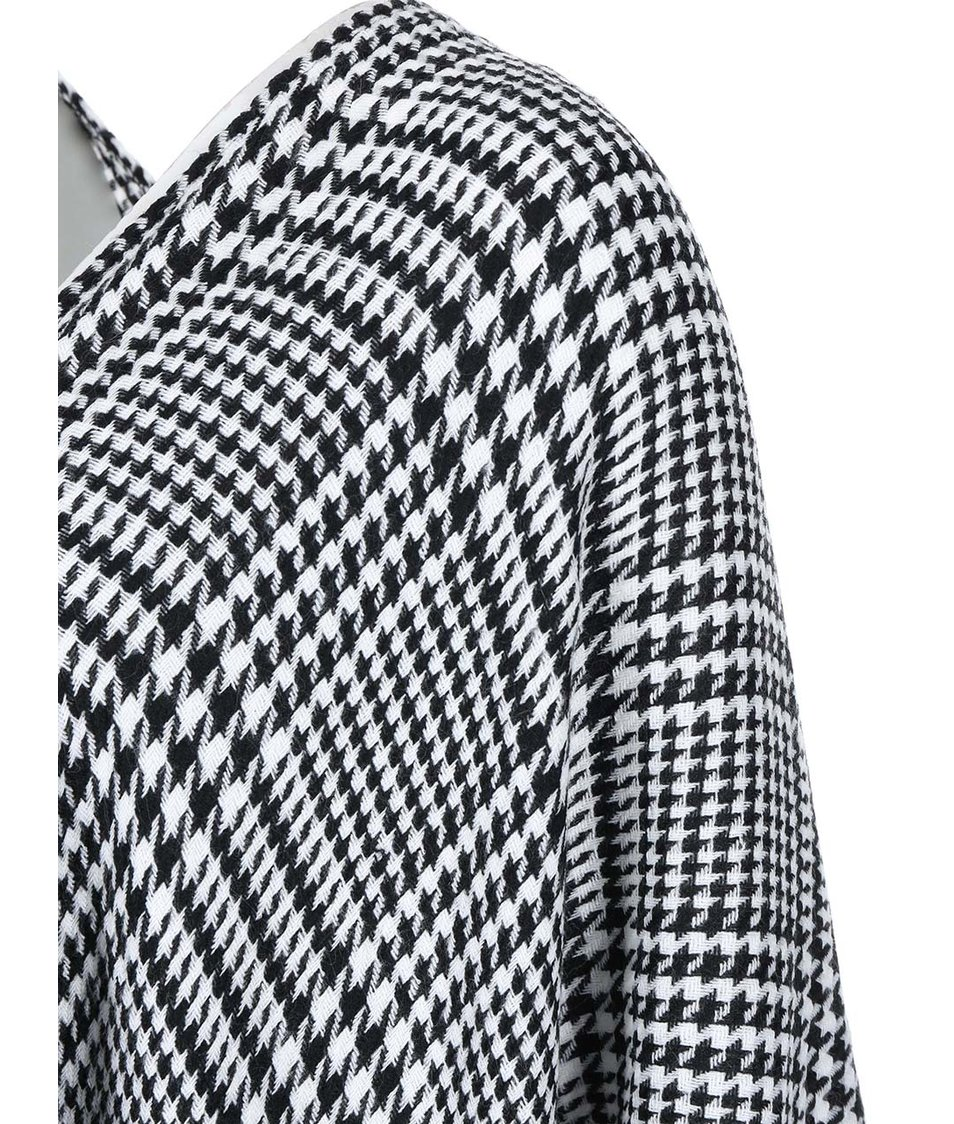 Černo-bílé pončo s kohoutí stopou Vero Moda Clara
