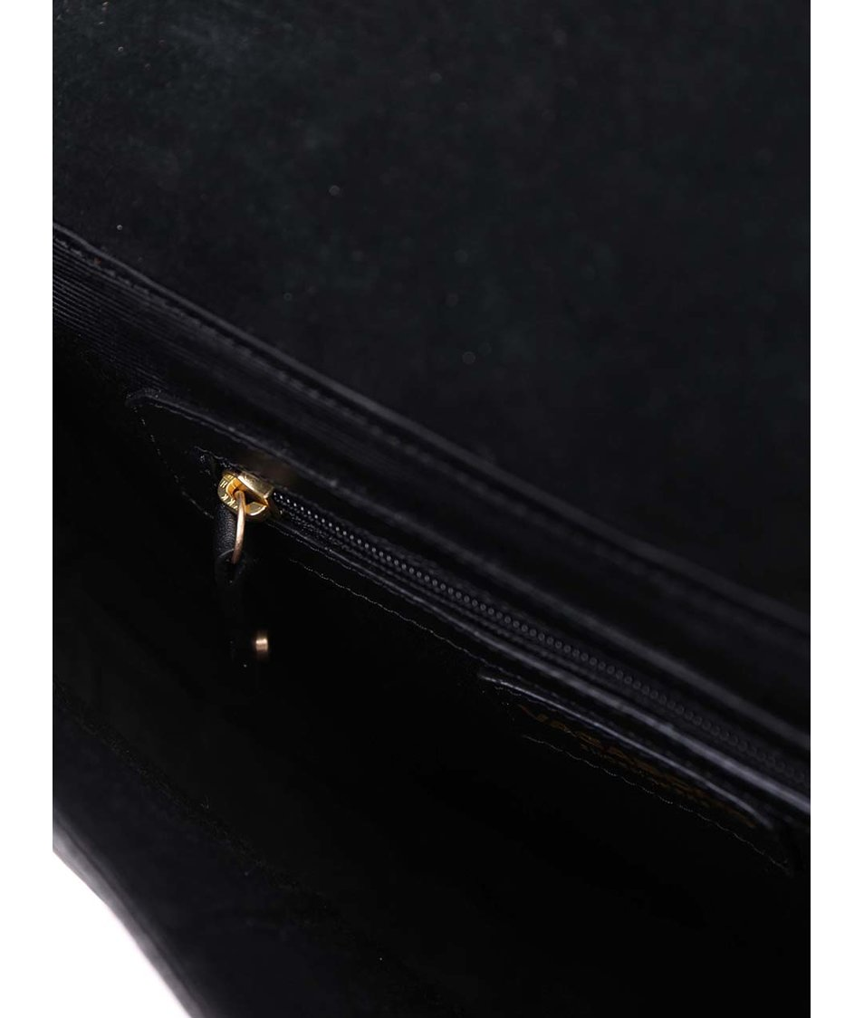 Černá menší kožená kabelka oválného tvaru s hadím vzorem Vagabond