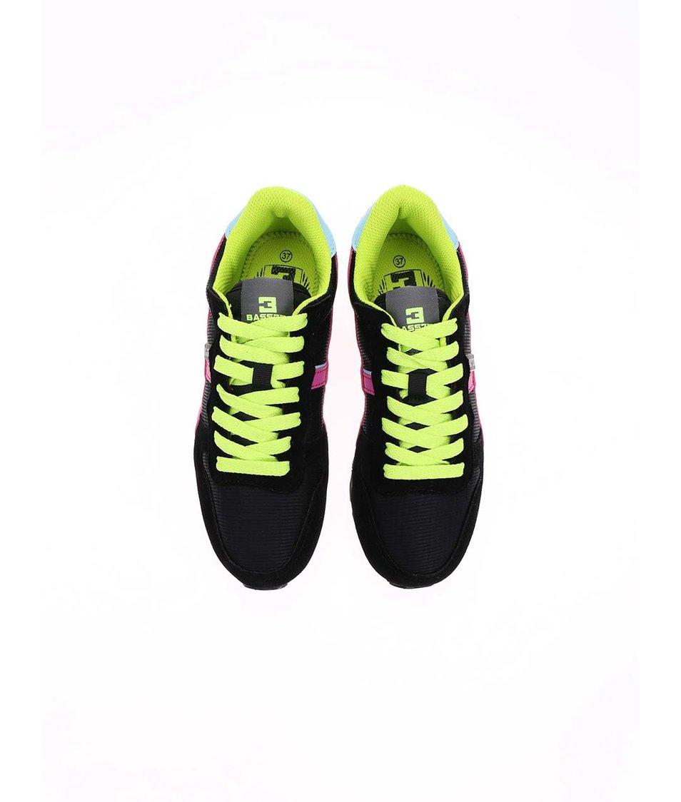 Zeleno-černé dámské tenisky s růžovými detaily Bassed