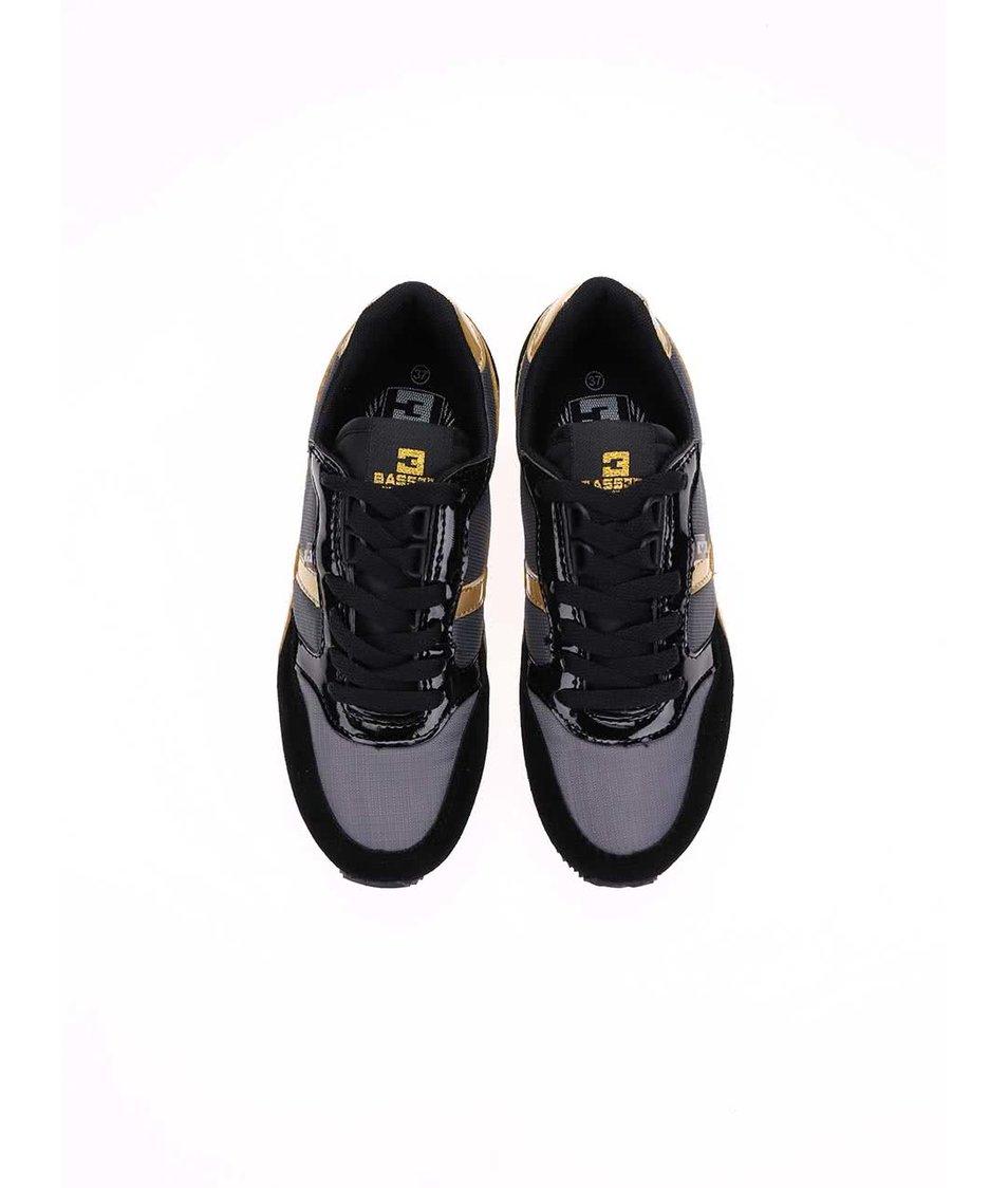 Šedo-černé dámské tenisky se zlatými detaily Bassed