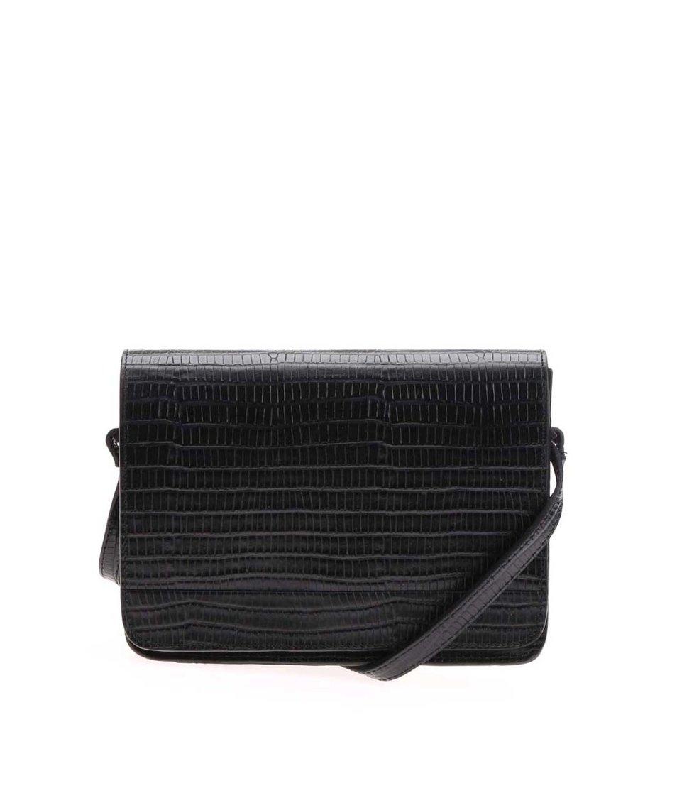 Černá malá kožená kabelka s hadím vzorem Vagabond