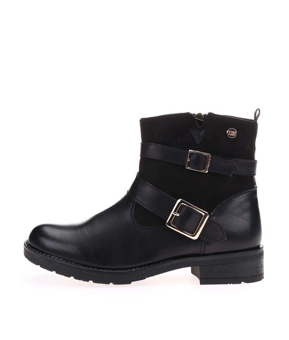 Černé kotníkové boty s přezkami Xti