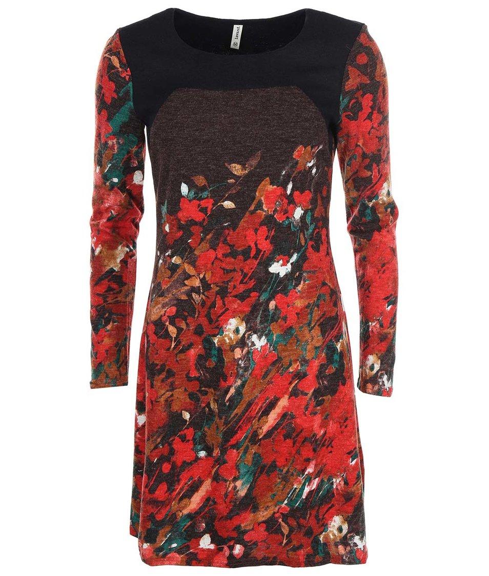 Hnědo-červené šaty s dlouhým rukávem Lavand