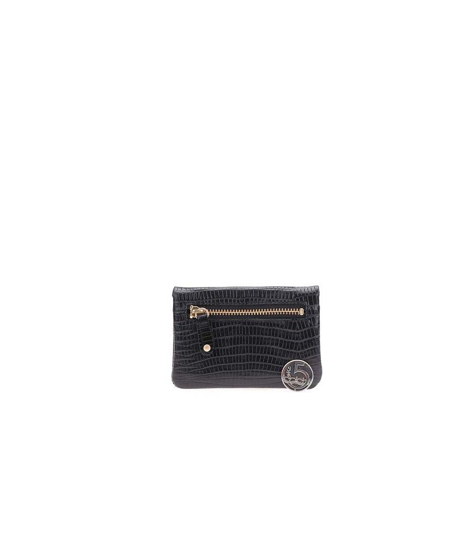 Černá dámská kožená minimalistická peněženka s hadím vzorem Vagabond