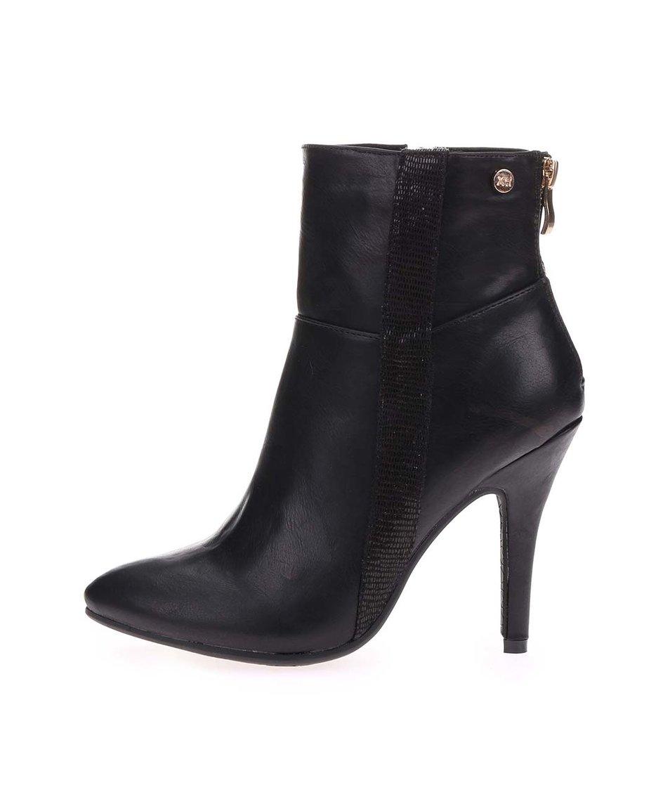 Černé vyšší kotníkové boty na podpatku Xti