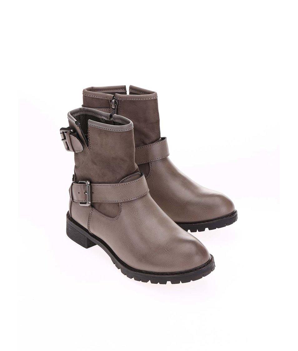 Hnědošedé kotníkové boty s přezkami Refresh