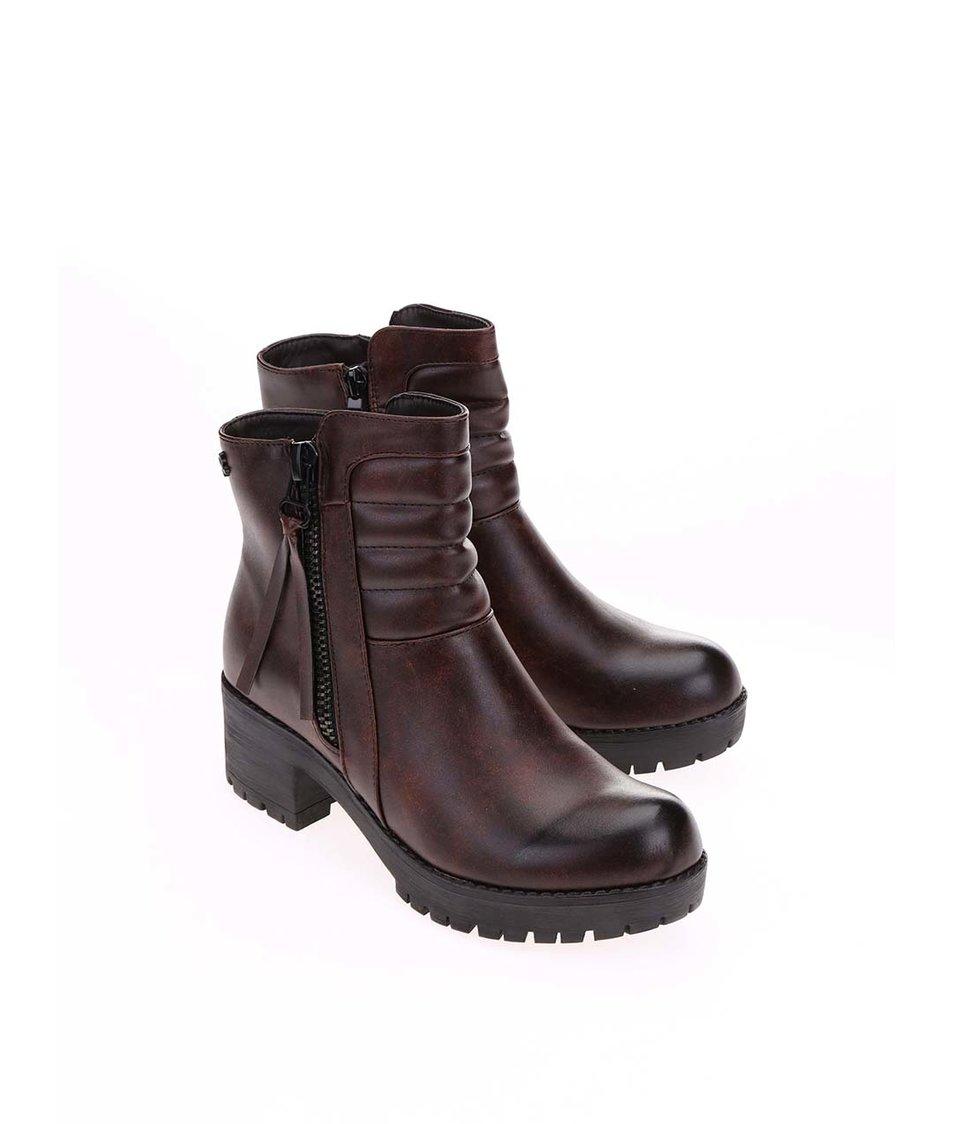 Hnědé kotníkové boty na platformě Refresh