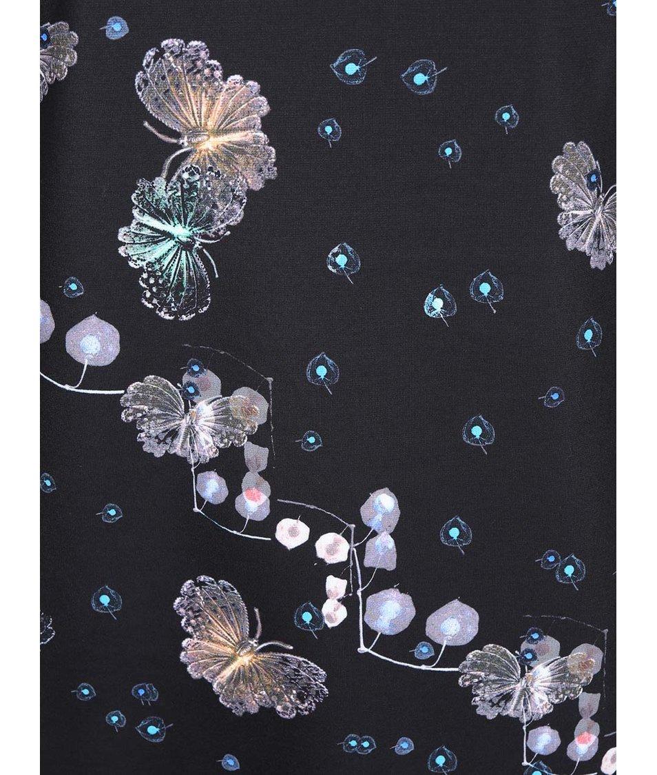 Černé šaty s motýlím potiskem Lavand