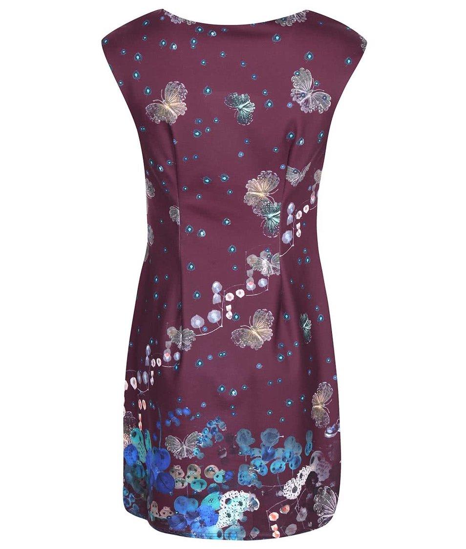 Vínové šaty s motýlím potiskem Lavand