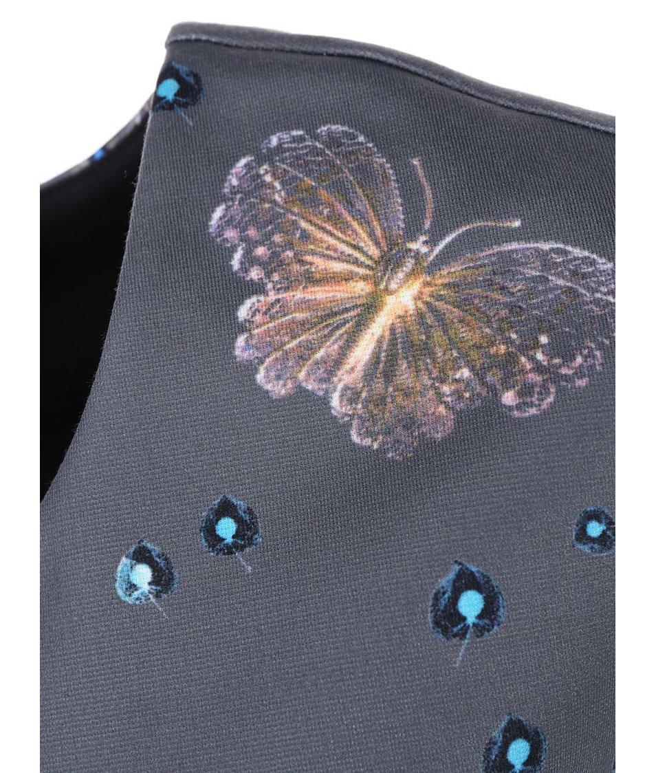 Šedé šaty s motýlím potiskem Lavand