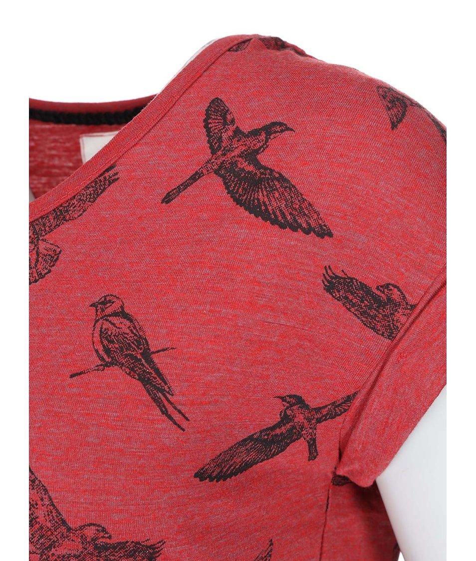 Červené tričko s ptáčky Bellfield Gateshead