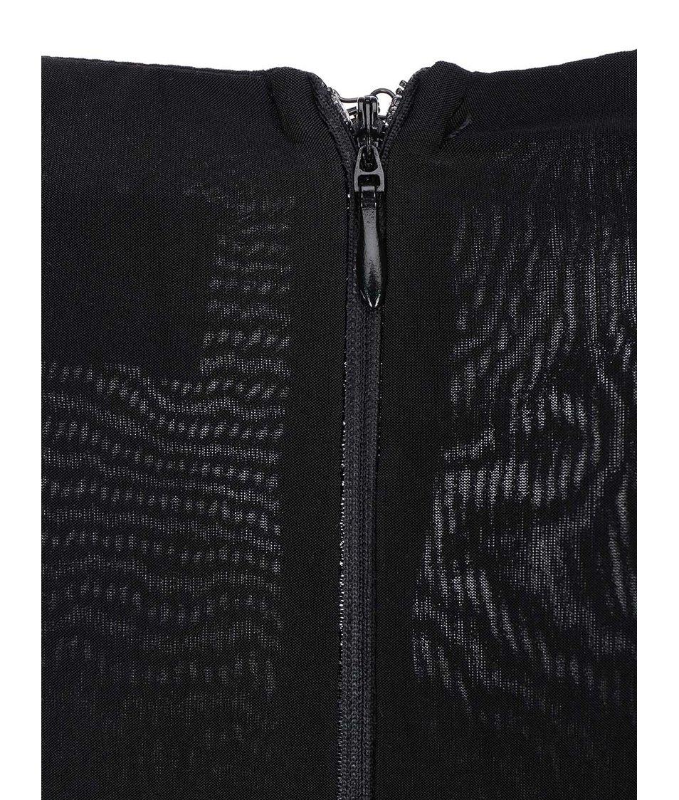Černé přiléhavé šaty s dlouhými rukávy AX Paris