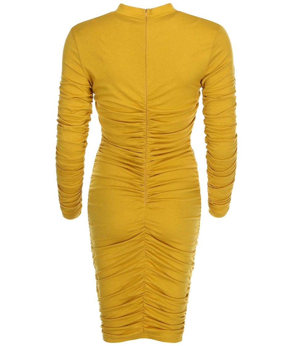 Hořčicové přiléhavé šaty s nařasením AX Paris