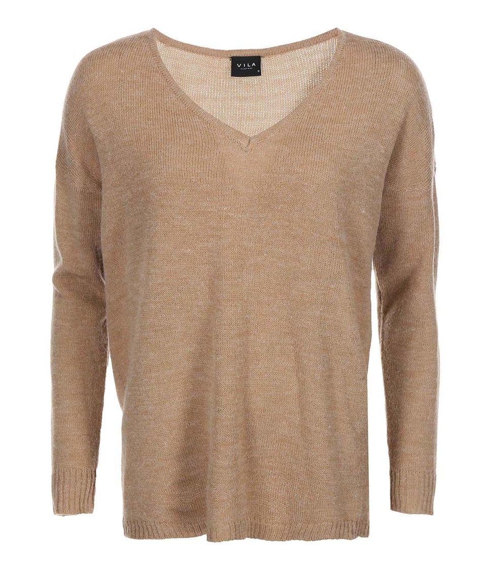 Světle hnědý žíhaný svetr s véčkovým výstřihem VILA Riva
