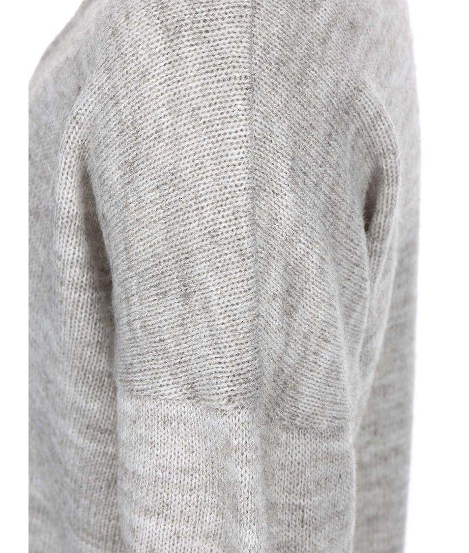 Světle šedý žíhaný svetr s véčkovým výstřihem VILA Riva