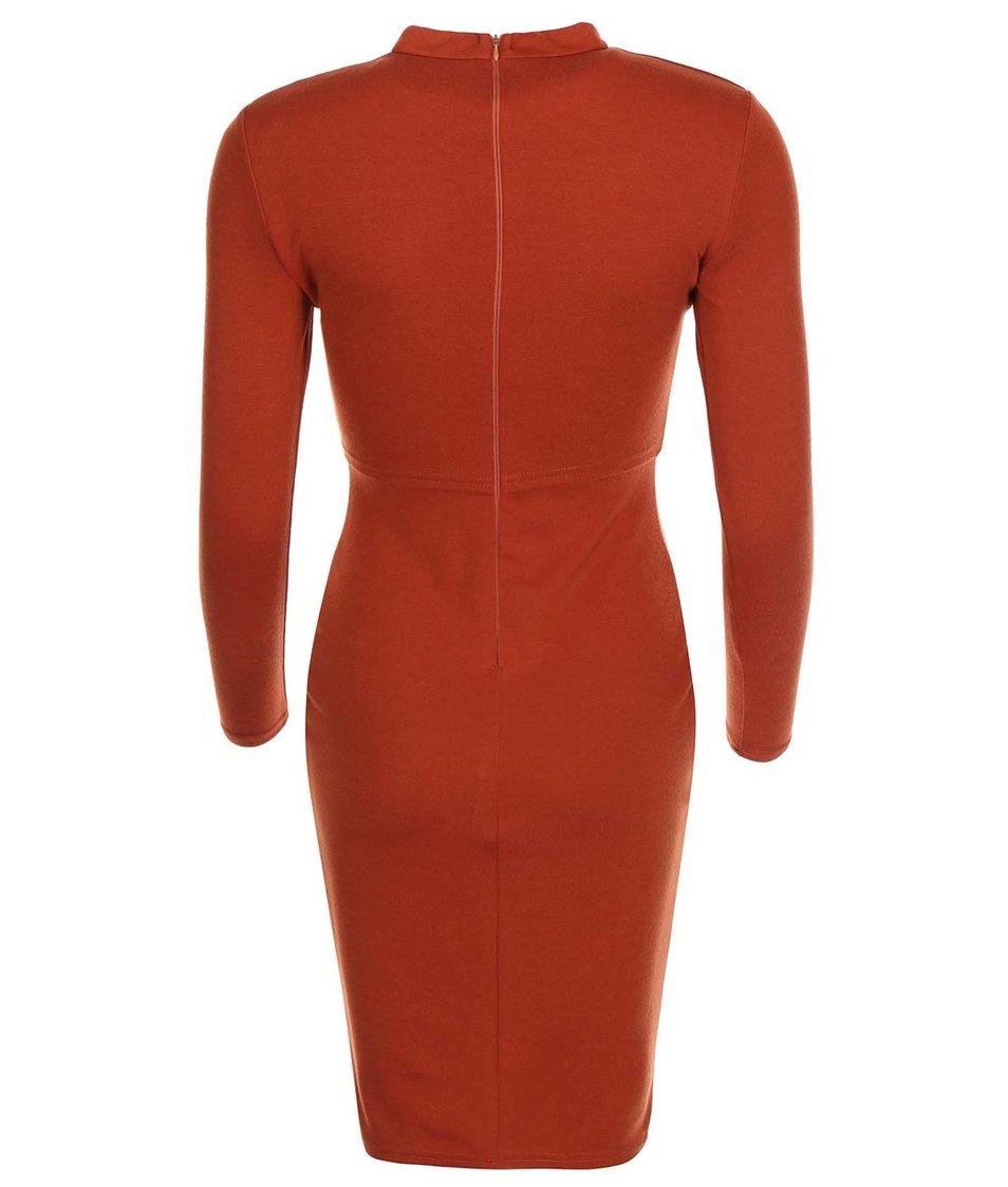 Cihlové přiléhavé šaty s dlouhými rukávy AX Paris