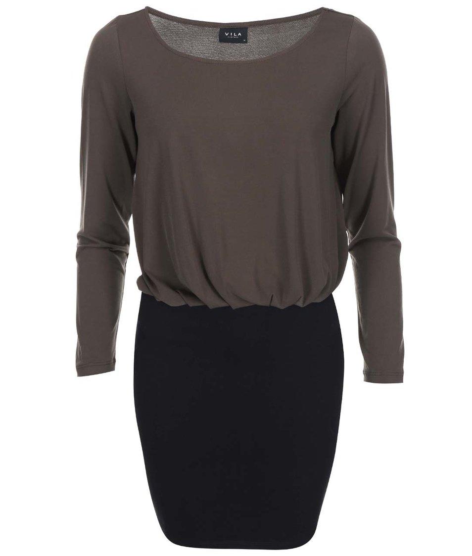 Černo-hnědé šaty s dlouhým rukávem VILA Olli