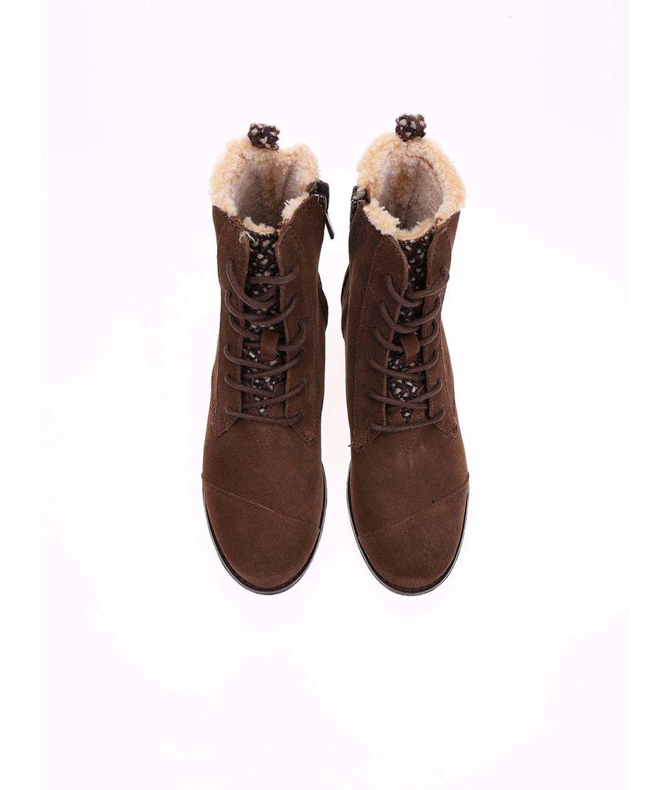 Hnědé dámské kožené kotníkové boty s kožíškem Toms Alpa Boot