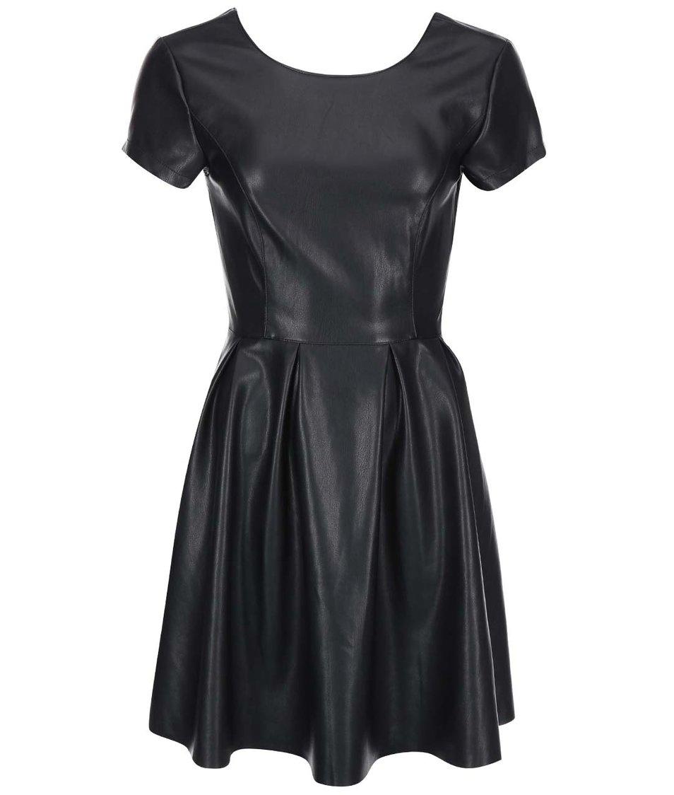 Černé koženkové šaty VILA Aviate