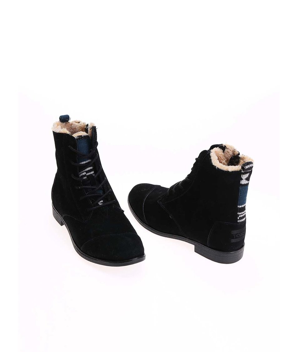 Černé dámské kožené kotníkové boty s kožíškem Toms Alpa Boot