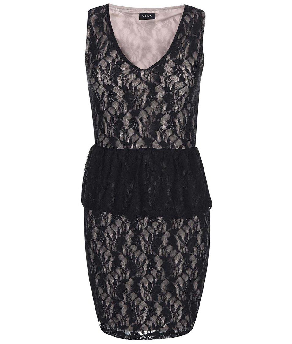 Béžovo-černé krajkované šaty VILA Gabyn