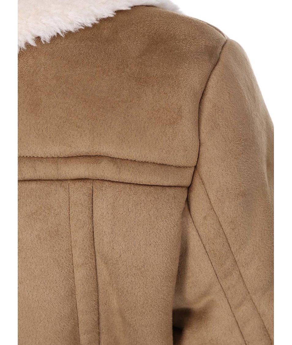 Světle hnědý delší kabát s kožíškem VILA Aviate