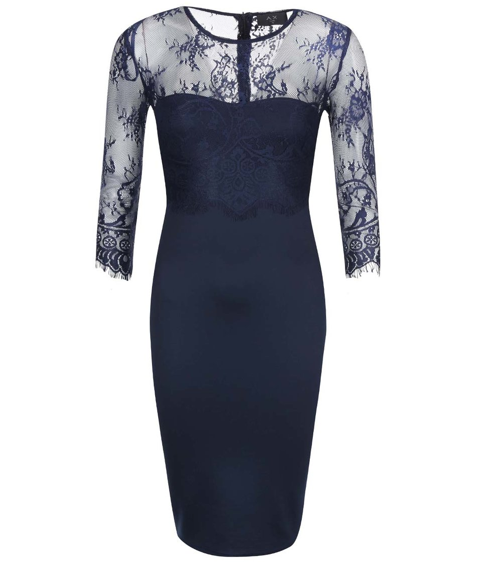 Tmavě modré pouzdrové šaty s krajkou AX Paris