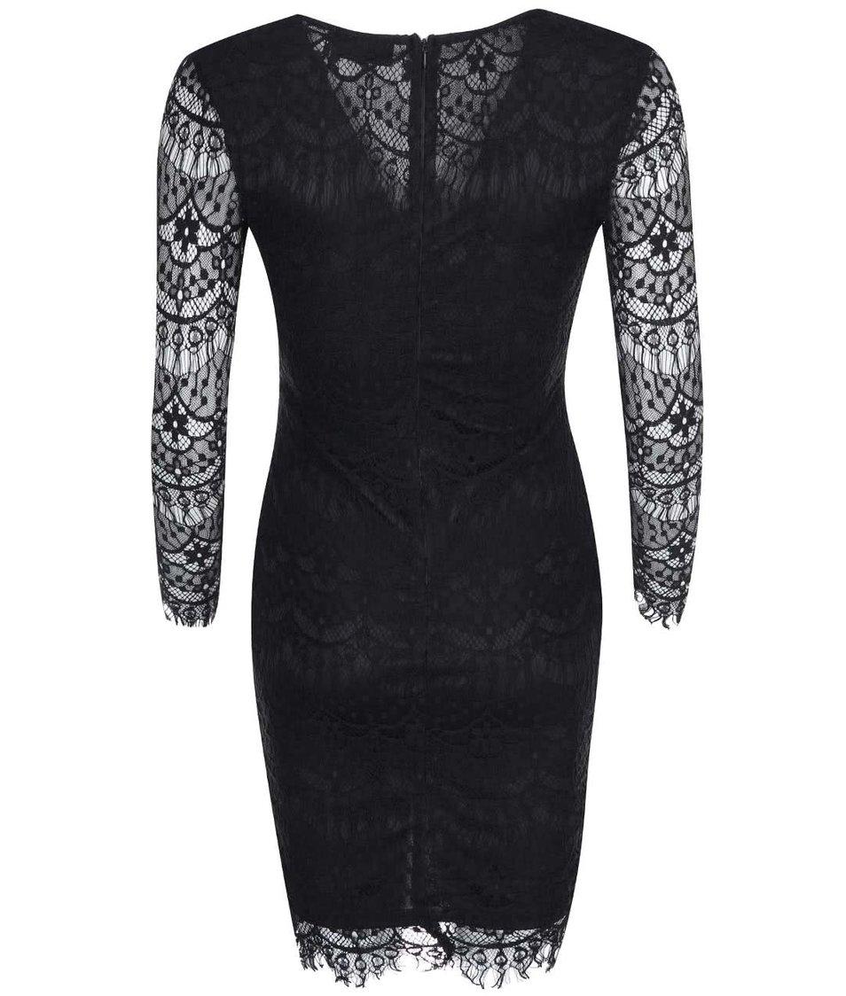 Černé krajkové šaty s dlouhými rukávy AX Paris