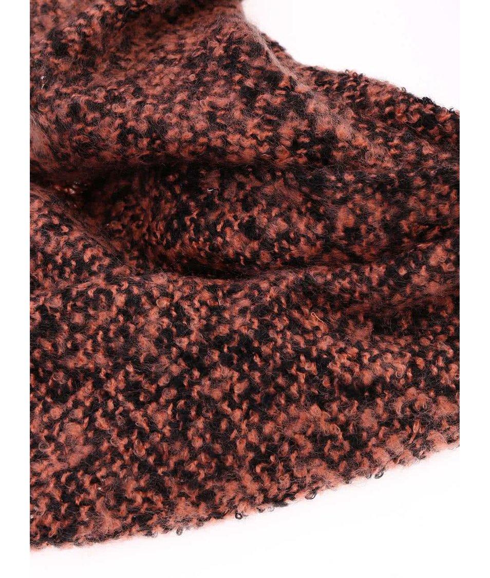 Černo-korálová žíhaná šála Vero Moda Kanna