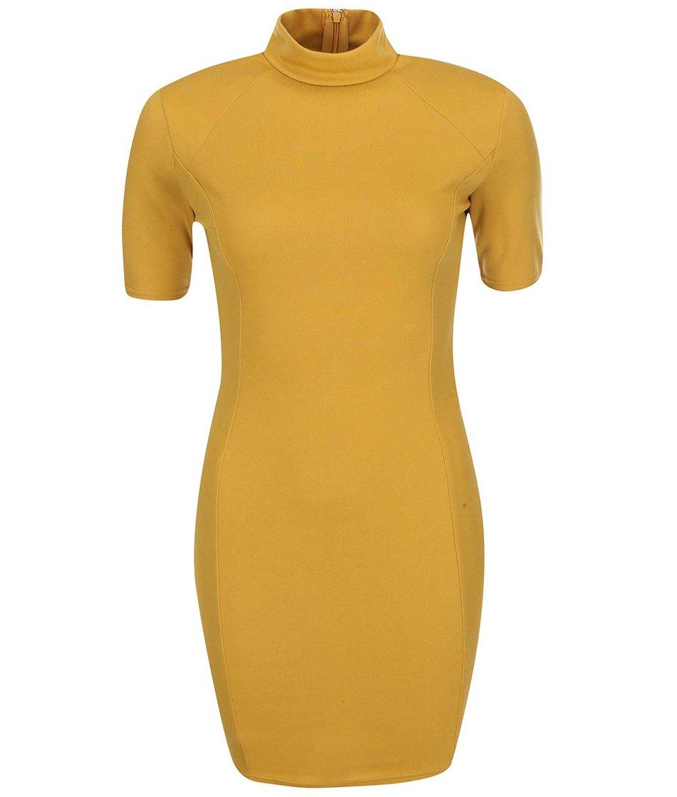 Hořčicové přiléhavé šaty s krátkými rukávy AX Paris