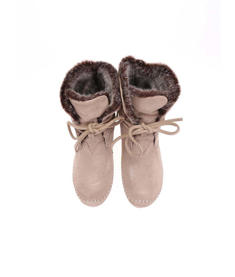 Béžové vyšší dámské kožené boty s kožíškem Toms Zahara