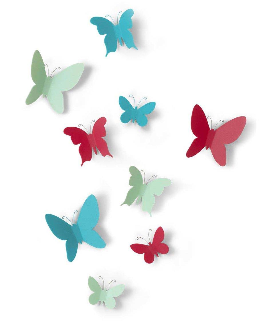 Sada devíti barevných motýlků na zeď Umbra Mariposa