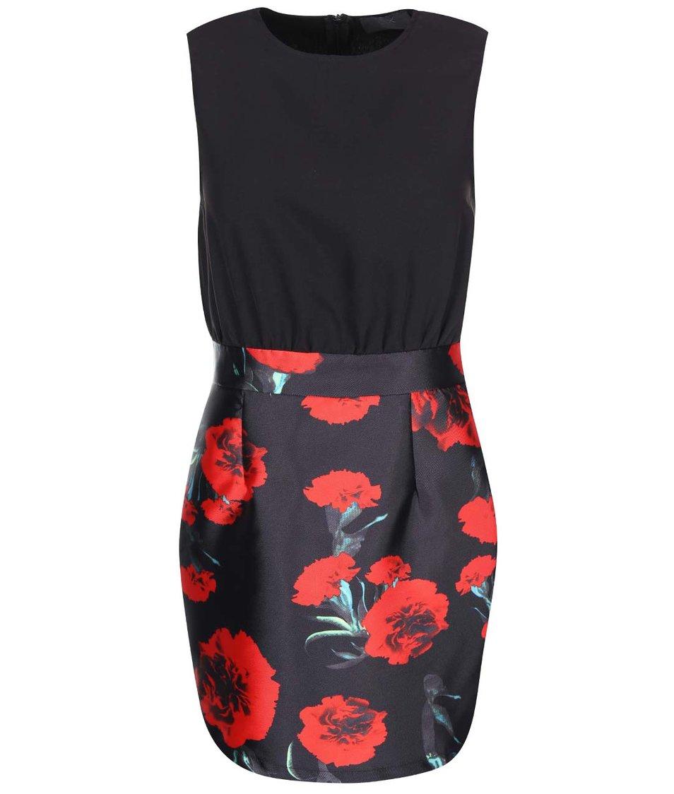 Černé šaty s květovanou sukní AX Paris