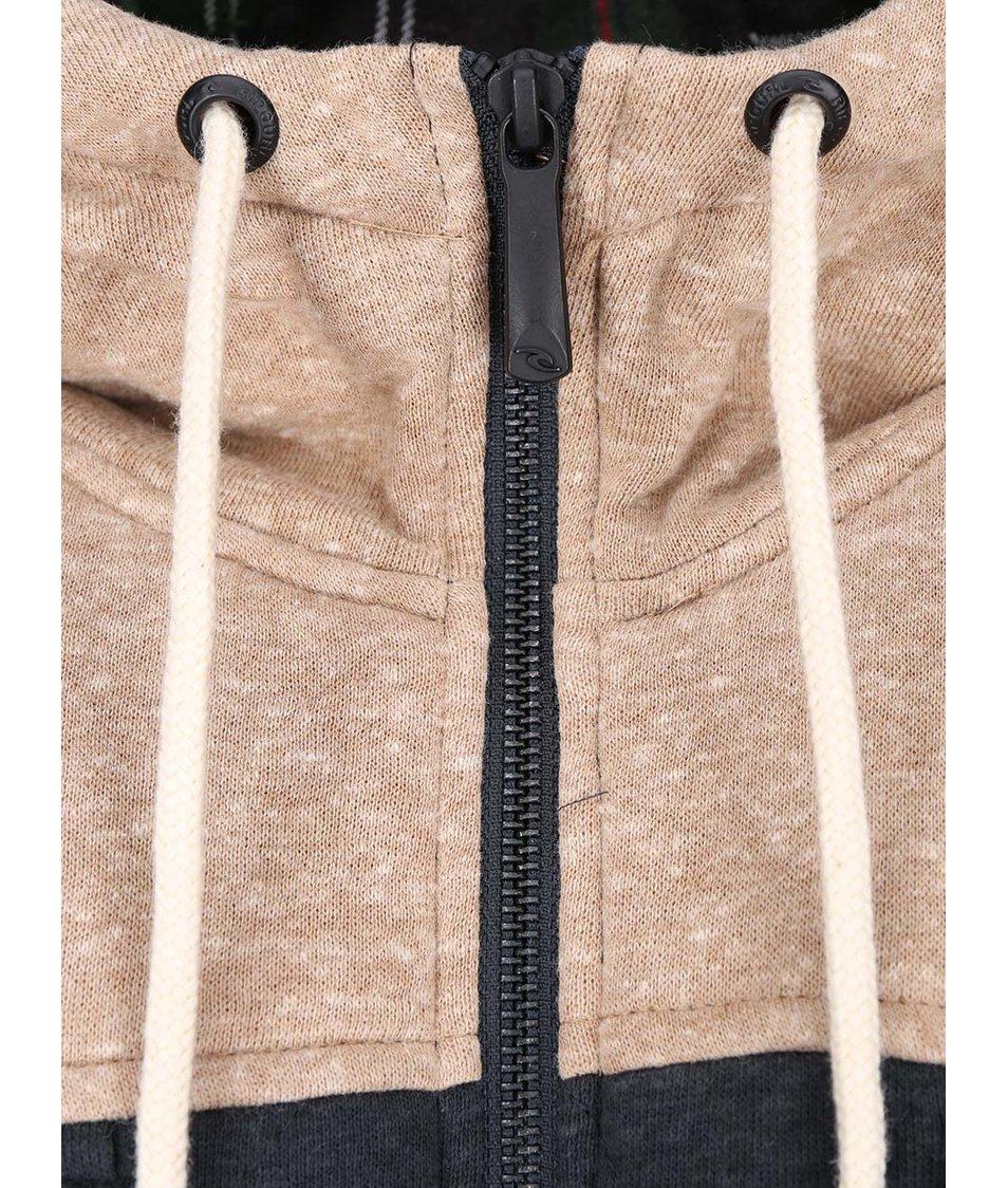 Hnědo-šedá pánská prošívaná mikina s kapucí Rip Curl