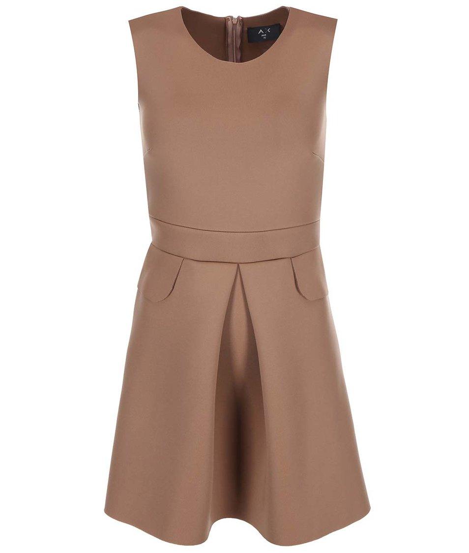 Světle hnědé šaty se zipem na zádech AX Paris