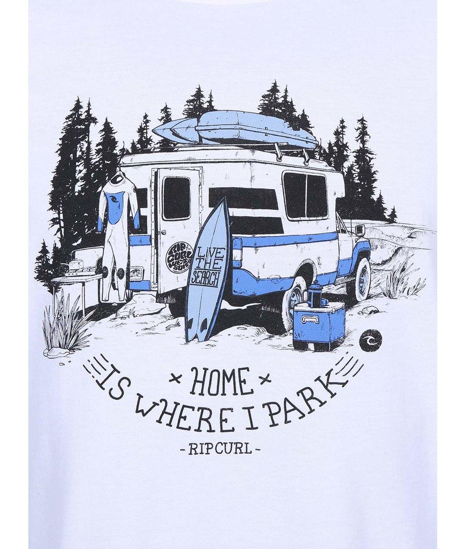 """Bílé pánské triko s potiskem """"Home Is Where I Park"""" Rip Curl"""