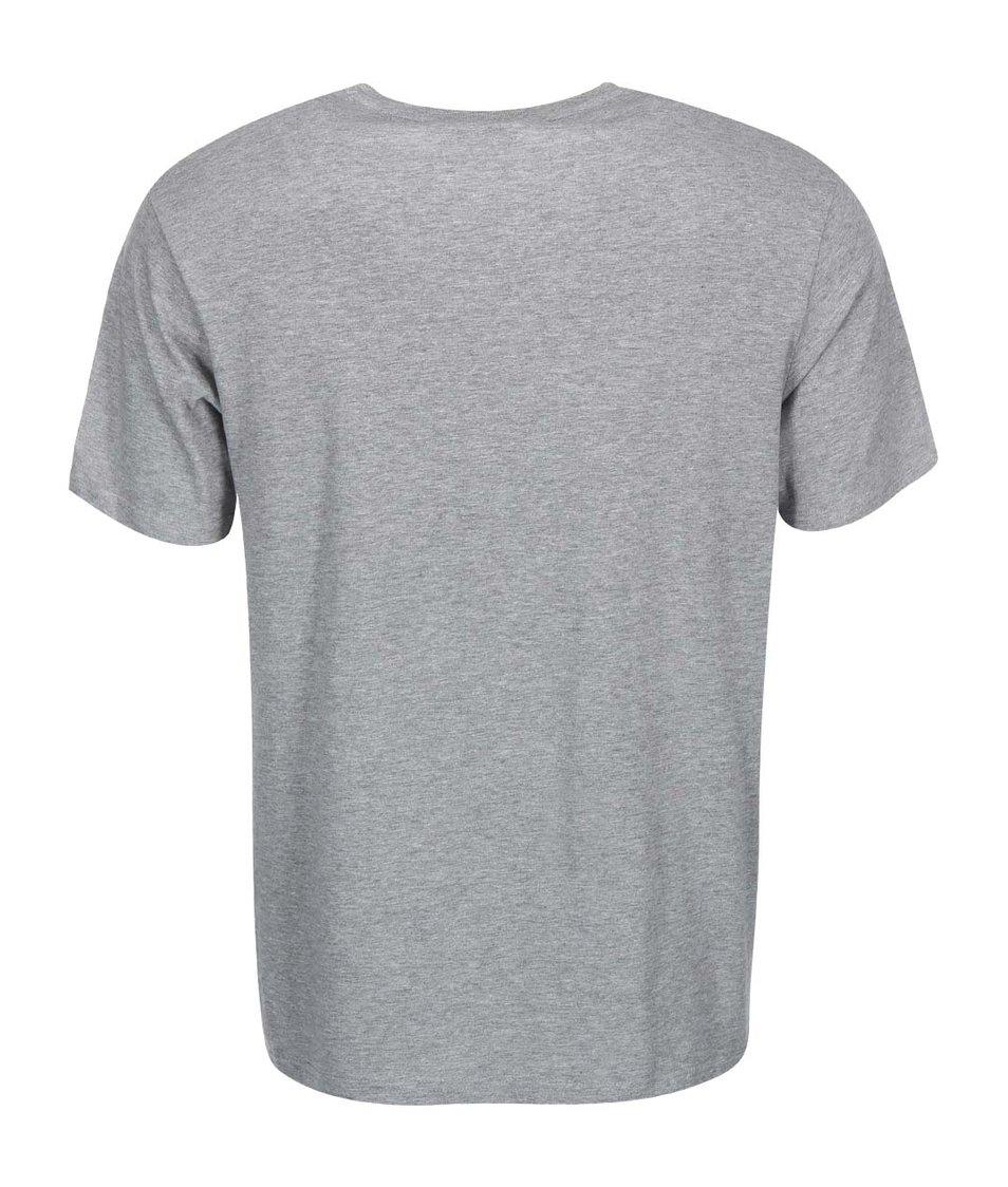 Světle šedé pánské triko s modrým potiskem Rip Curl