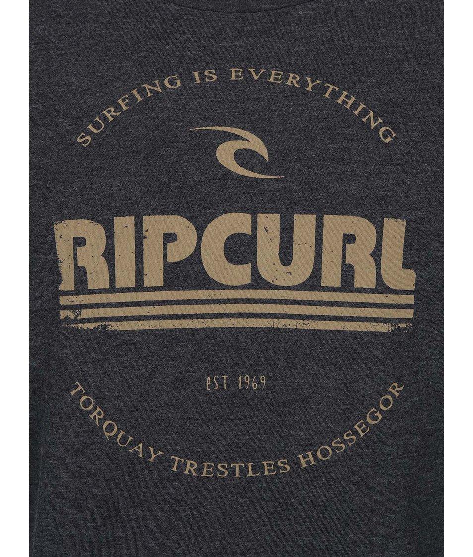 Tmavě šedé pánské triko s hnědým potiskem Rip Curl