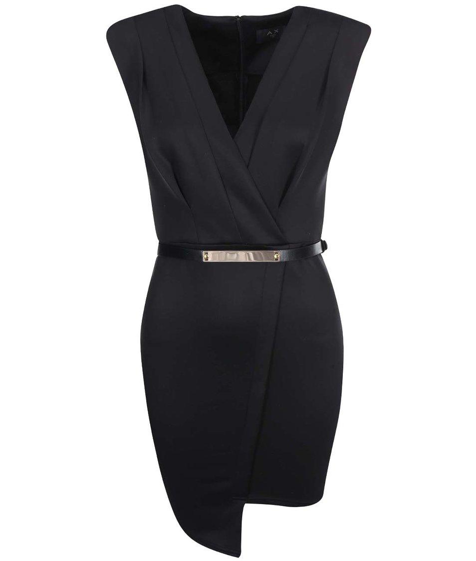 Černé překládané šaty s páskem AX Paris