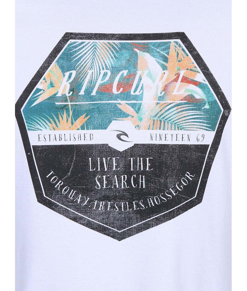 """Bílé pánské triko s potiskem """"Live The Search"""" Rip Curl"""