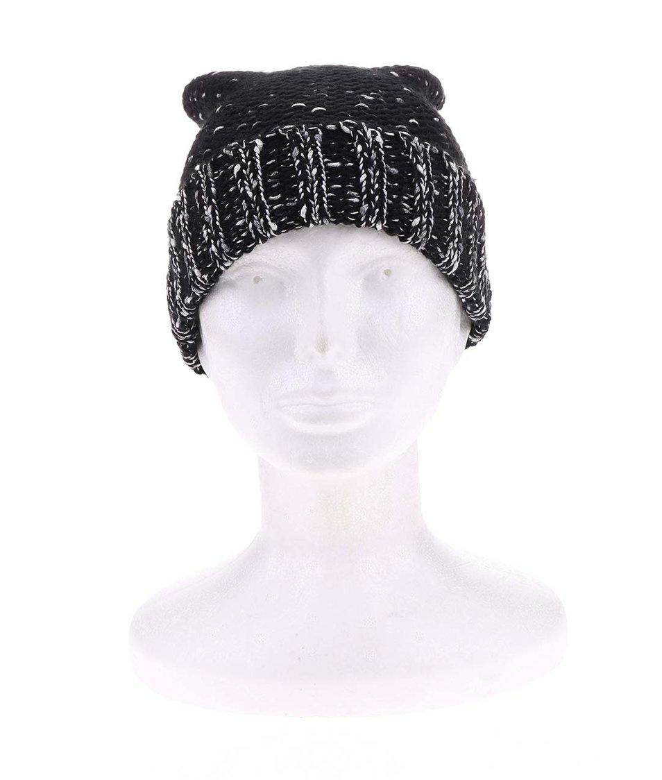 Černá pletená čepice s šedostříbrným žíháním Vero Moda Guro