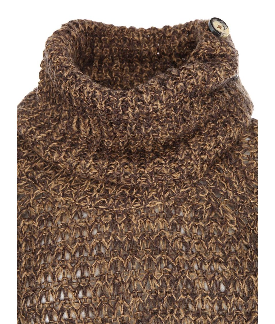Tmavě hnědý volnější pletený svetr s rolákem Vero Moda Dawn