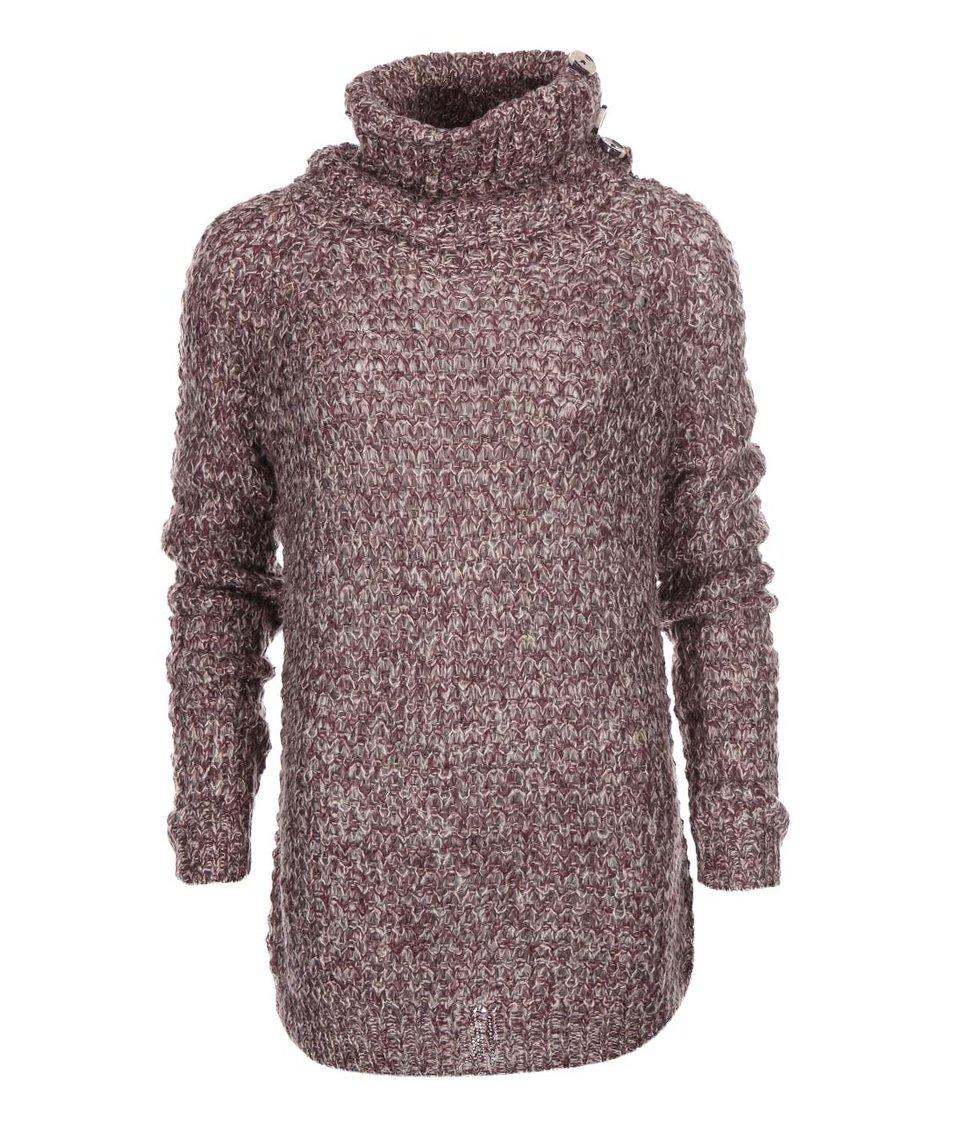 Vínový volnější pletený svetr s rolákem Vero Moda Dawn